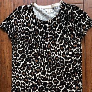 Women's J.CREW Leopard Short Sleeve Sweater XXS